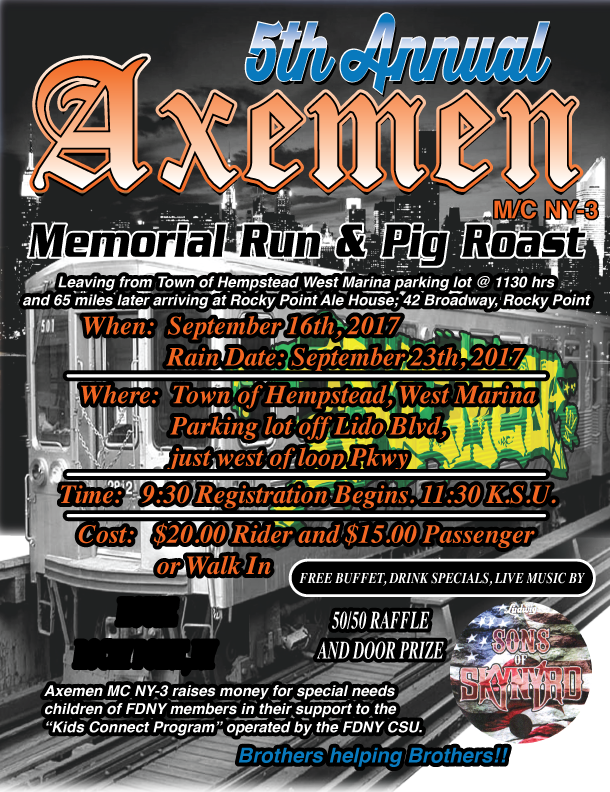Axemen M/C NY-3 5th Annual Memorial Run & Pig Roast - September 16th 2017
