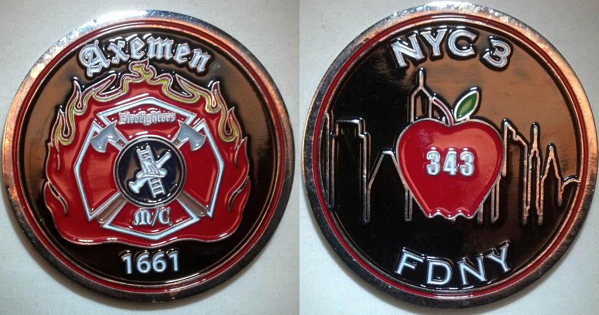 Axemen M/C N-Y 3 Challenge Coins